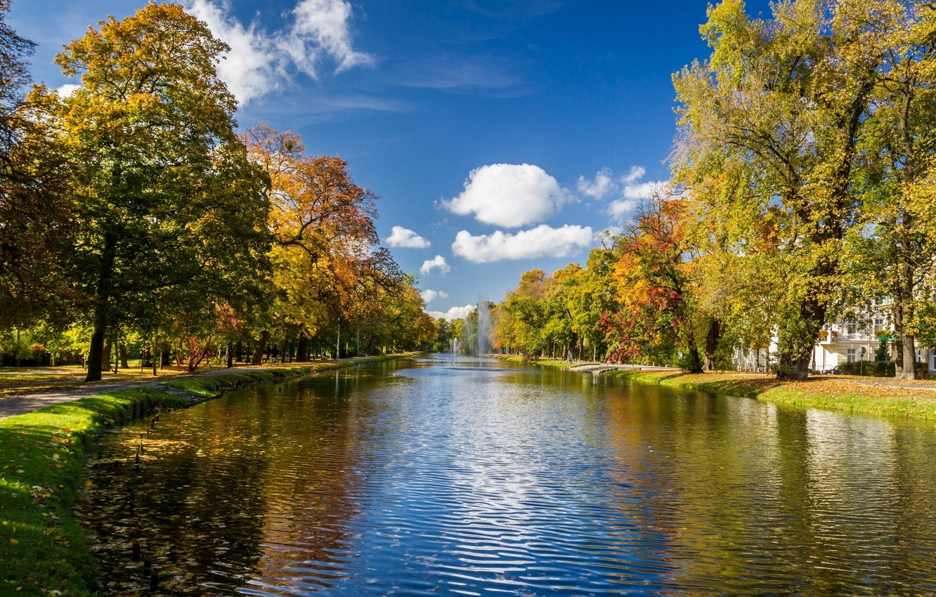 Photo wallpaper autumn, trees, Park, river, alley, fountains