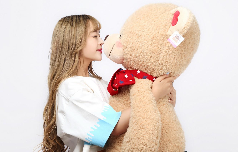 Photo wallpaper girl, smile, toy, bear