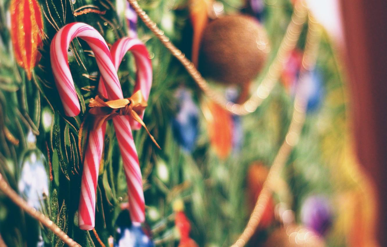 Photo wallpaper new year, Christmas, lollipops