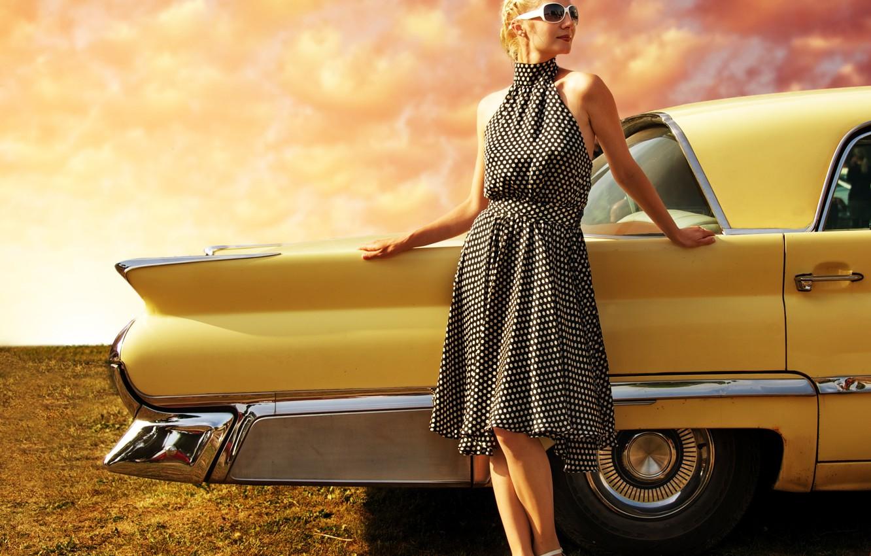 Photo wallpaper auto, landscape, style, retro, Girl, beauty, dress, appearance