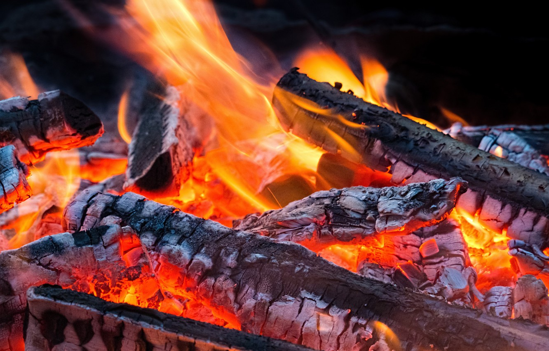 Photo wallpaper fire, flame, the fire, logs, ash