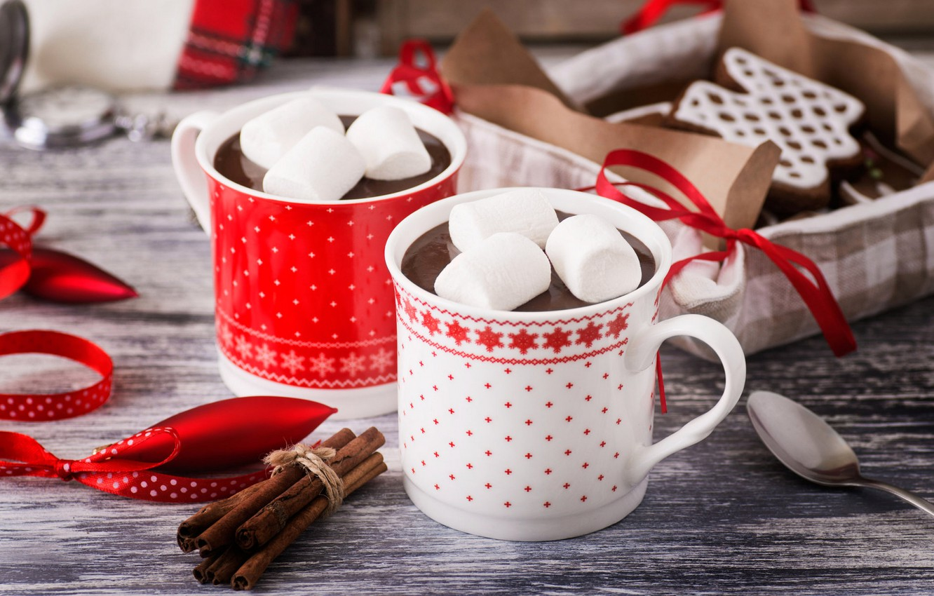 Photo wallpaper coffee, food, cookies, Cup, cup, cocoa, coffee, cocoa, hot chocolate, biscuits, hot chocolate