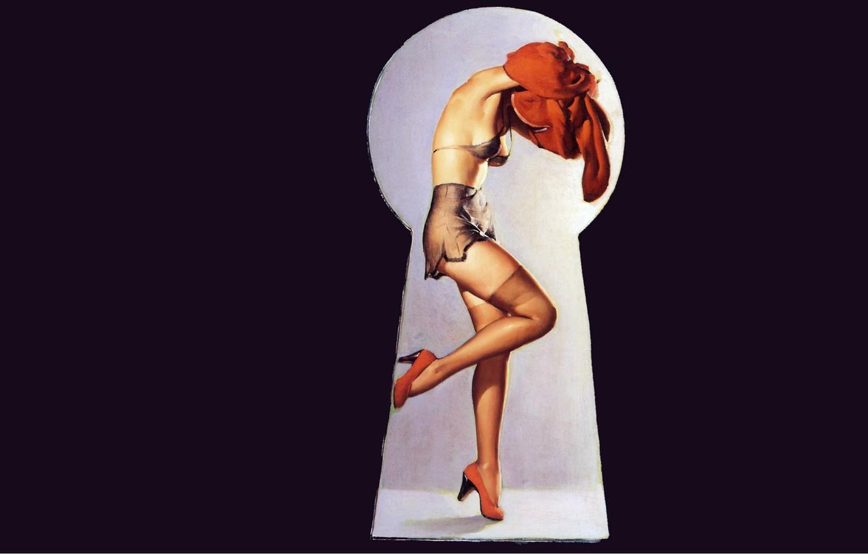 Photo wallpaper girl, stockings, red dress, underwear, art, pin-up, keyhole, voyeurism, Gil Elvgren