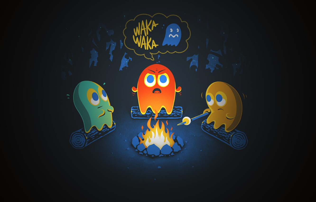 Wallpaper Night Cast The Fire Ghost Pacman Pacman