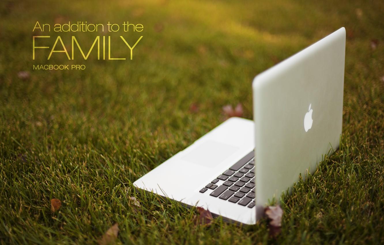 Photo wallpaper grass, Apple, laptop, MacBook Pro