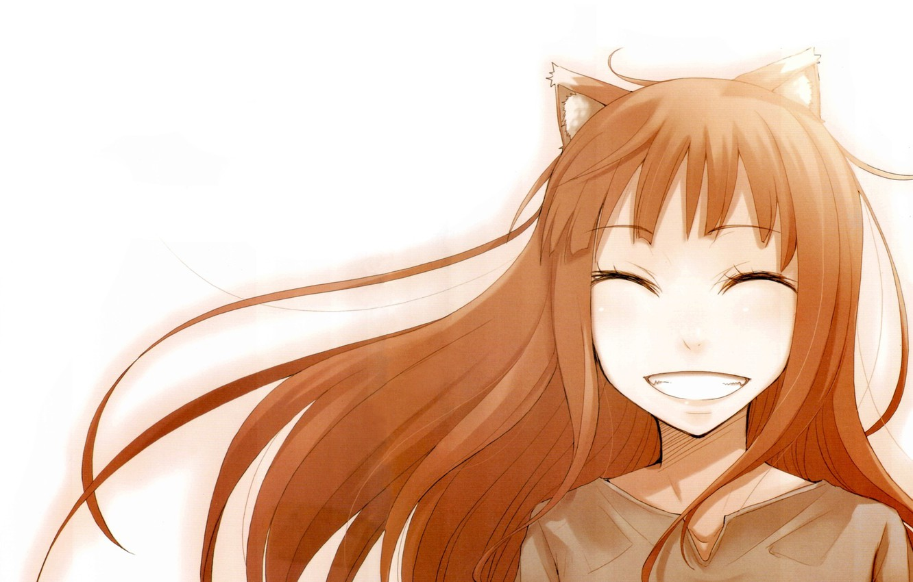 Wallpaper Smile Art Anime Spice And Wolf Holo Spice And Wolf