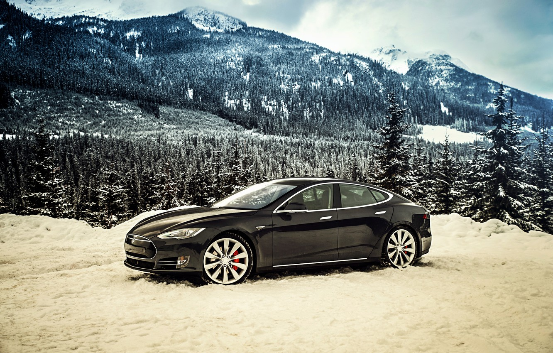 Photo wallpaper Tesla, Model S, 2014, Tesla, P85D