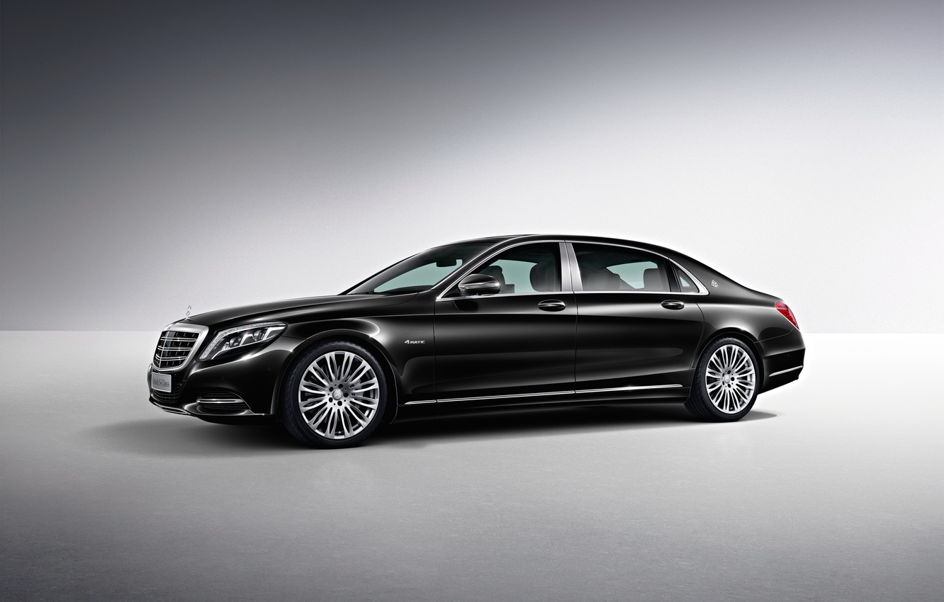 Photo wallpaper black, Mercedes-Benz, Maybach, side, Mercedes, Black, S-Class, X222, 2015, S 500