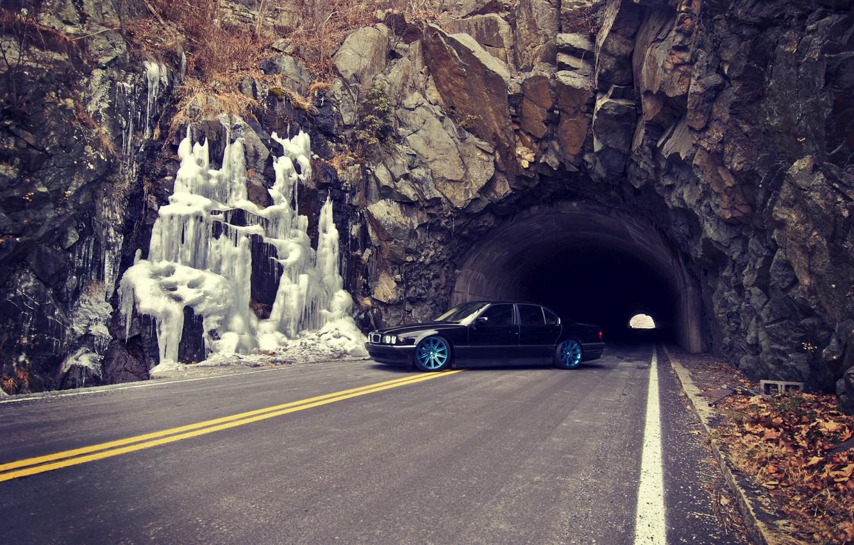 Photo wallpaper Road, Autumn, BMW, Boomer, BMW, Tunnel, Drives, E38, Bimmer