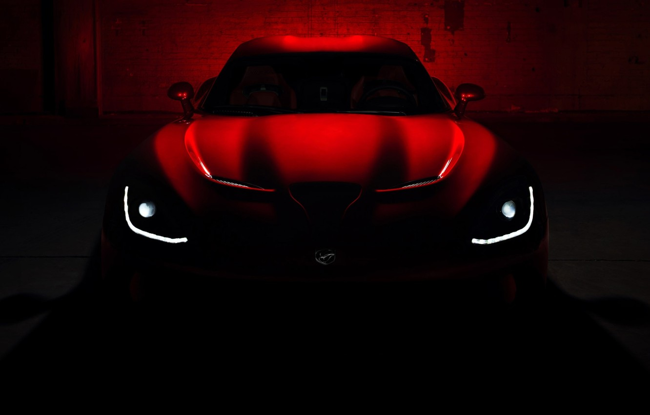 Photo wallpaper roof, red, darkness, lights, the hood, Dodge, Dodge, supercar, twilight, Viper, the front, GTS, Viper, …