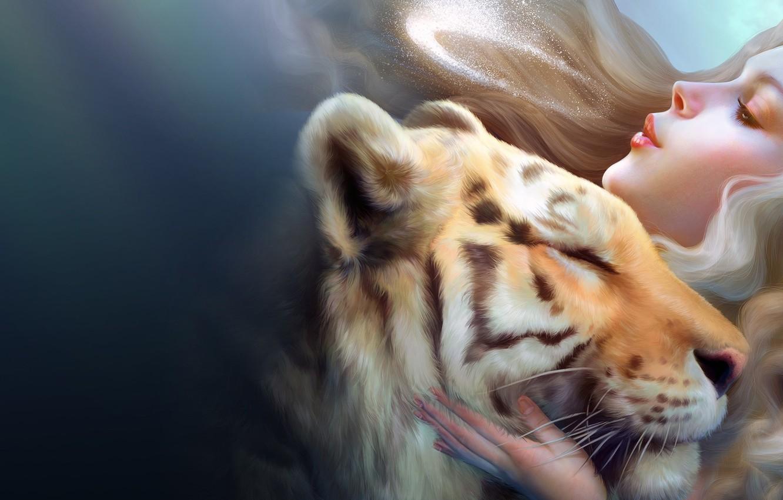 Photo wallpaper girl, love, tiger, fantasy