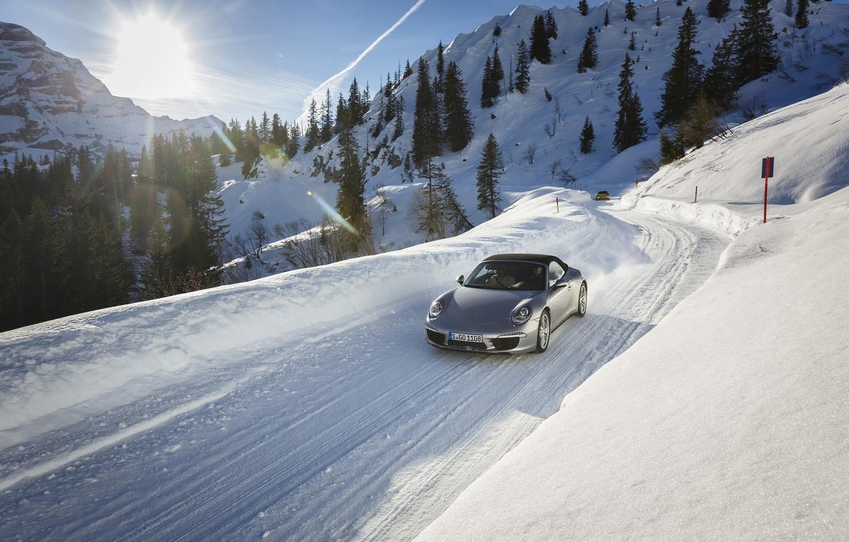 Photo wallpaper road, the sun, snow, 911, Porsche, Porsche, the front