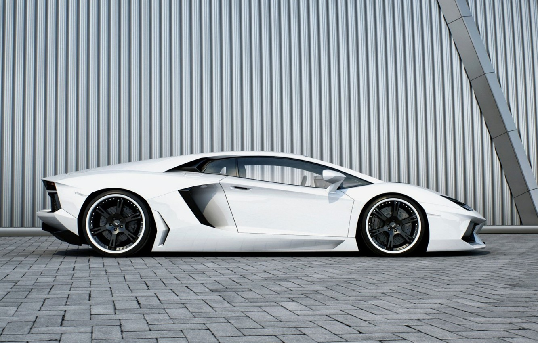 Photo wallpaper white, wall, profile, white, wheels, lamborghini, black, aventador, lp700-4, Lamborghini, aventador, black rims