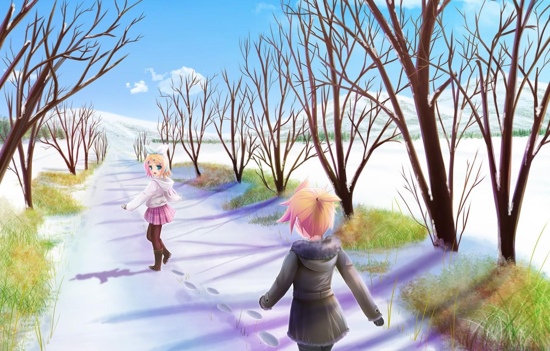 Photo wallpaper winter, snow, mood, anime, len, alley, Vocaloid, Rin