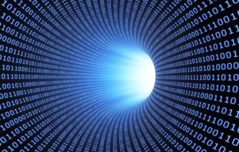 Photo wallpaper binary, tunnel, numbers