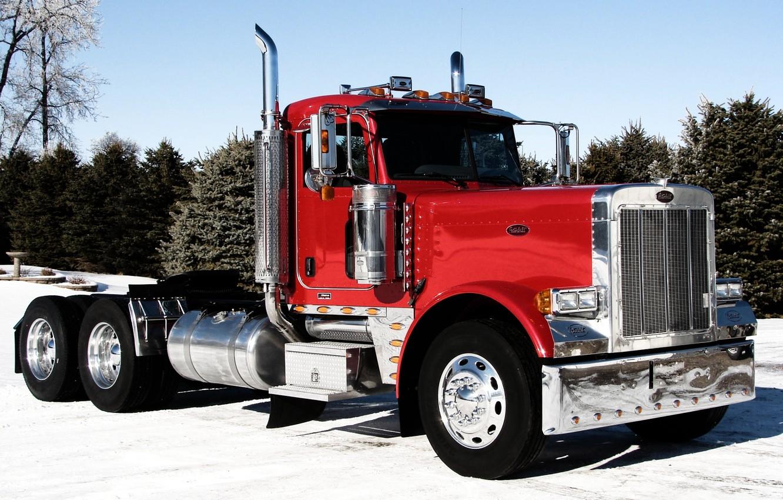 Photo wallpaper the sky, truck, chrome, the front, truck, tractor, Trak, Peterbilt, Peterbelt, 379