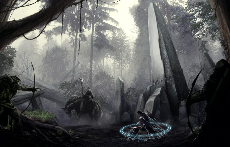 Photo wallpaper forest, weapons, magic, sword, bow, art, MAG, rider, column, obelisk, okita, archers, prisoner