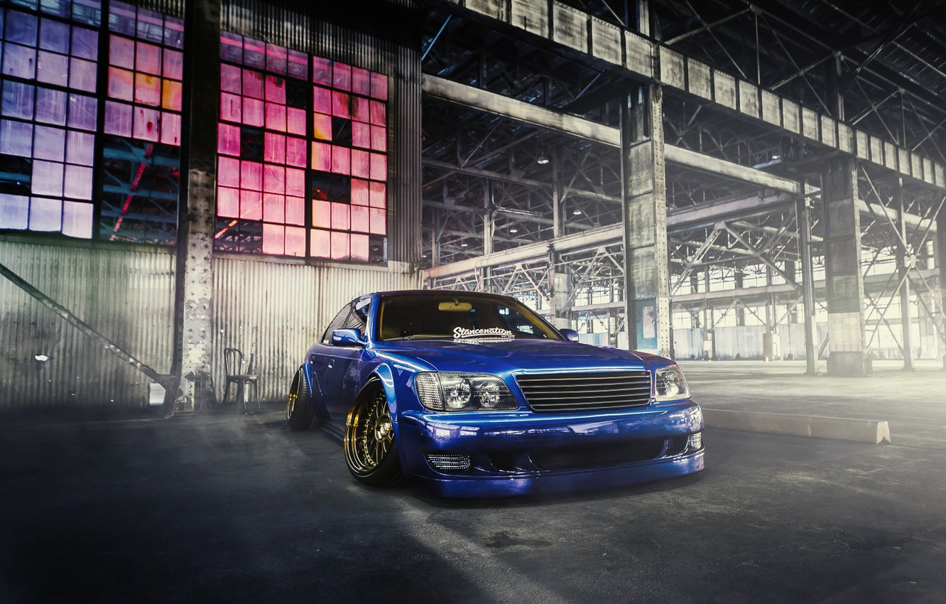 Photo wallpaper Lexus, Car, Blue, Front, Smoke, Elvis, Stancenation, LS400
