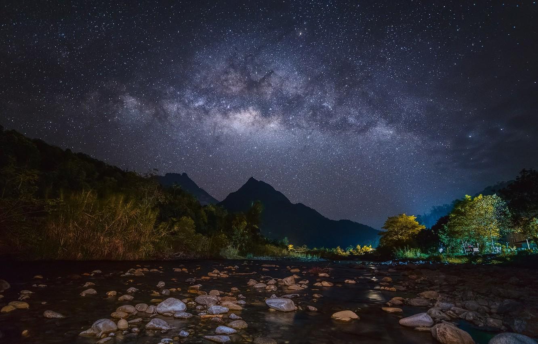 Photo wallpaper stars, light, trees, mountains, house, river, stones, The Milky Way, secrets