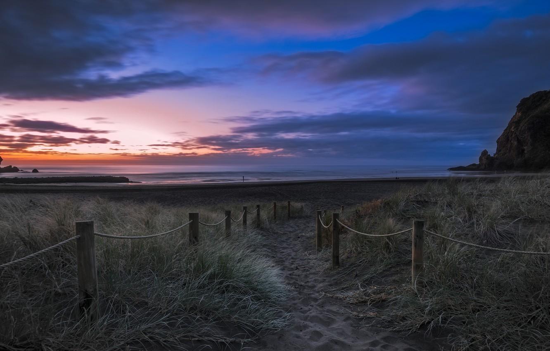 Photo wallpaper sand, sea, beach, the sky, grass, clouds, sunset, rock, shore, the evening, New Zealand, twilight