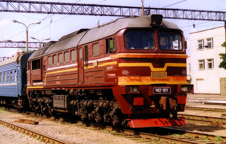 Photo wallpaper station, locomotive, diesel