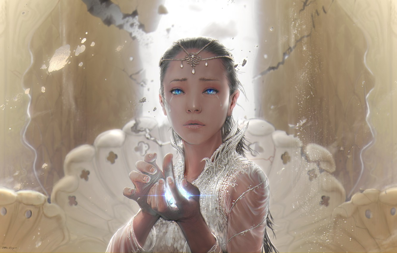Photo wallpaper girl, decoration, magic, hands, tears, fantasy, art, The neverending story
