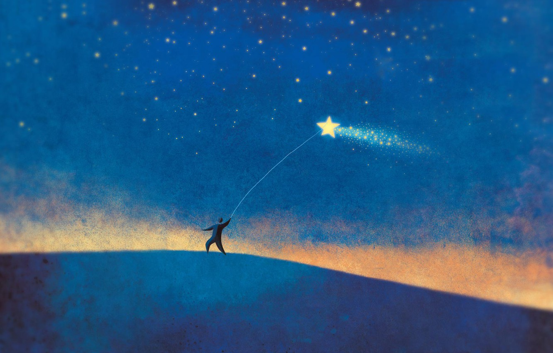 Photo wallpaper star, people, minimalism, blue background
