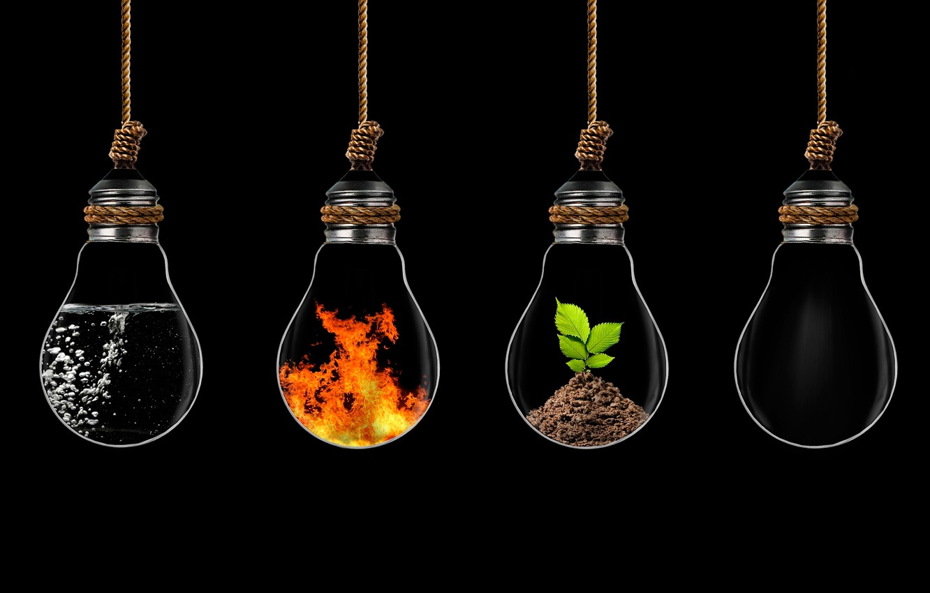 Photo wallpaper water, fire, earth, elements, the air, light bulb