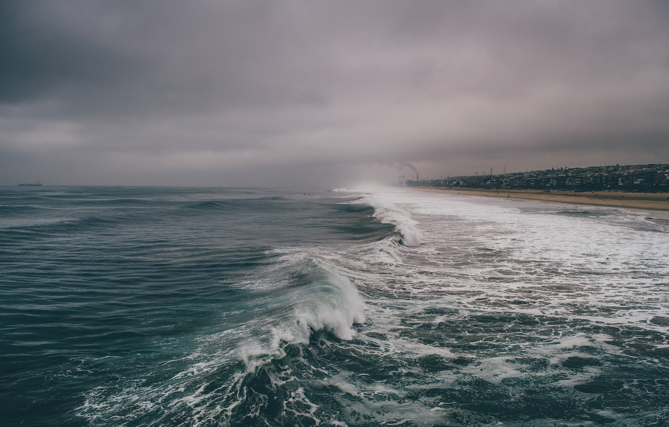 Photo wallpaper sea, wave, beach, the sky, water, clouds, the ocean