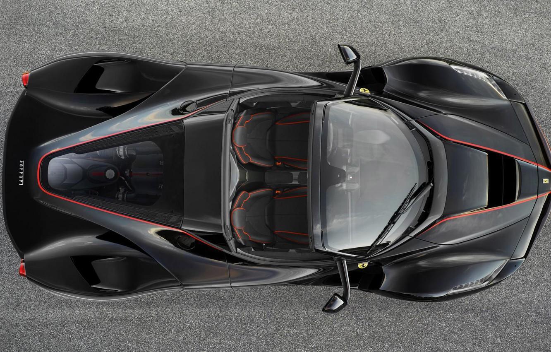Photo wallpaper Ferrari, Black, the view from the top, new, Spider, LaFerrari