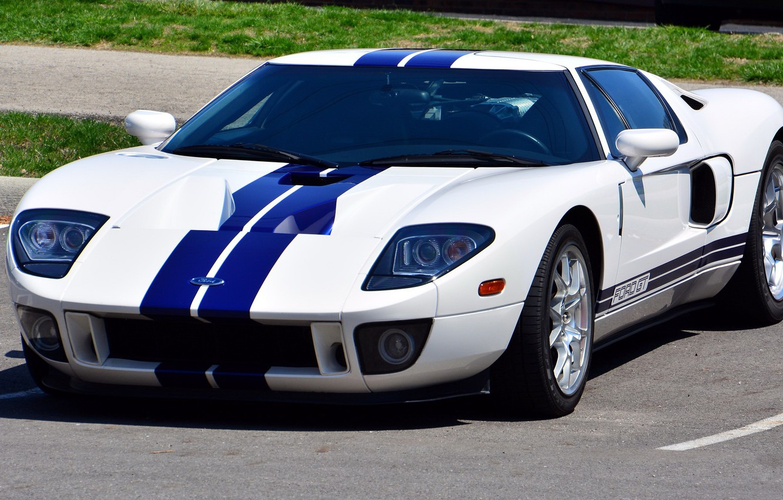 Photo wallpaper Ford, Blue, White, Stripes, gt