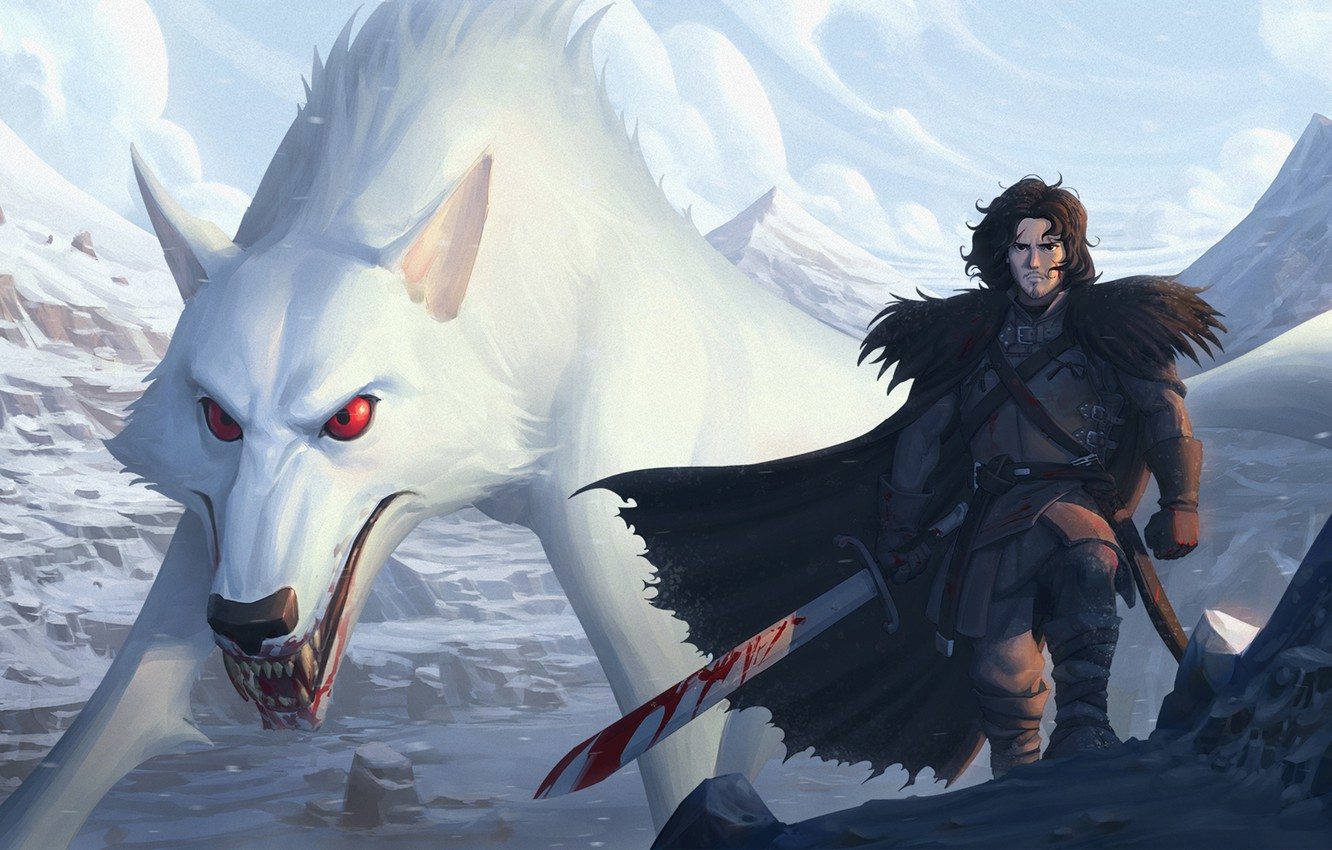 Photo wallpaper blood, sword, Ghost, art, wolf, Game of Thrones, a song of ice and fire, jon …