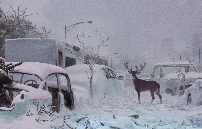 Photo wallpaper snow, people, deer, highway, rifle, postapokalipsis