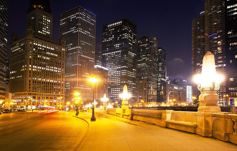 Wallpaper Road Night Lights Street Home Skyscrapers Chicago