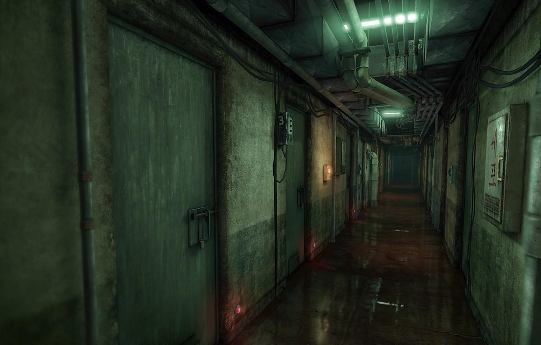 Wallpaper rendering, corridor, prison, Xell, UDK, a scene