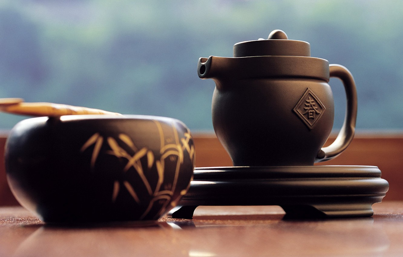 Photo wallpaper Japan, kettle, stand, tea ceremony