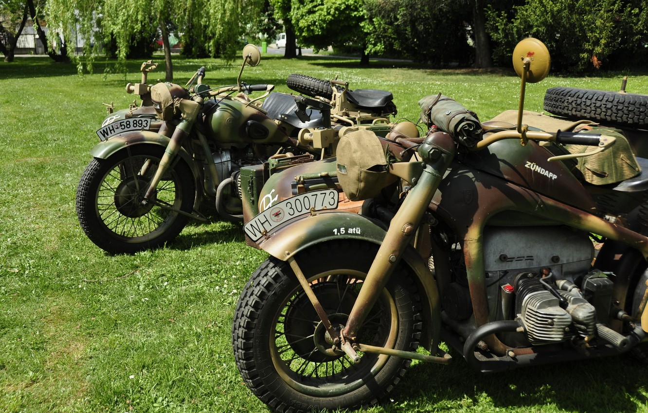 Photo wallpaper motorcycles, war, military, world, Second, times
