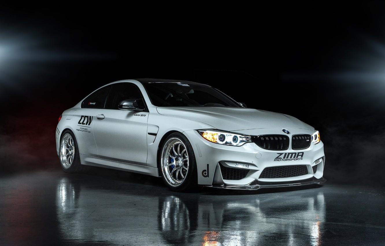 Photo wallpaper reflection, BMW, white, Coupe, front, F82, ZIMA Moto sports