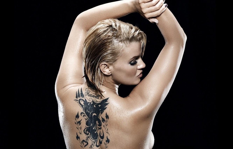 Photo wallpaper back, Girl, tattoo, black background