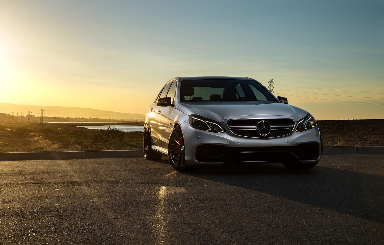 Photo wallpaper Mercedes-Benz, Car, Carbon, Front, Sunset, Grey, Matte, Motorsport, Sonic, E63, Ligth, Mode, AMG S