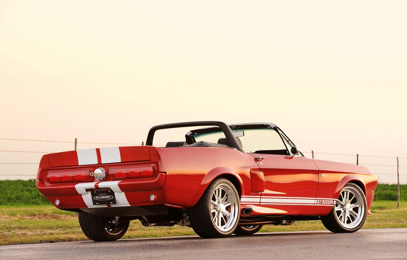 Photo wallpaper road, the sky, red, strip, tuning, Mustang, Ford, Shelby, Convertible, Ford, Mustang, drives, rear view, …