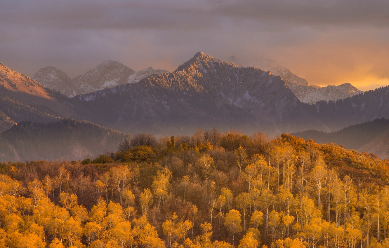 Photo wallpaper autumn, forest, the sky, clouds, sunset, mountains, nature