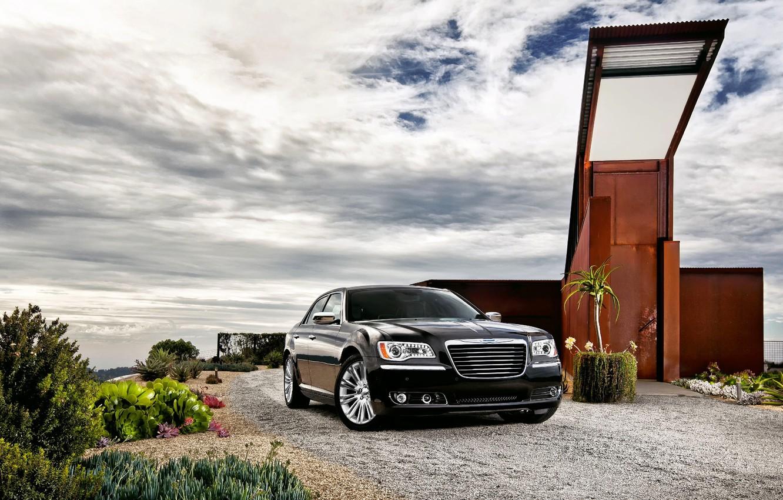 Photo wallpaper The sky, Auto, Black, Chrysler, Machine, The building, Sedan, 300, The front
