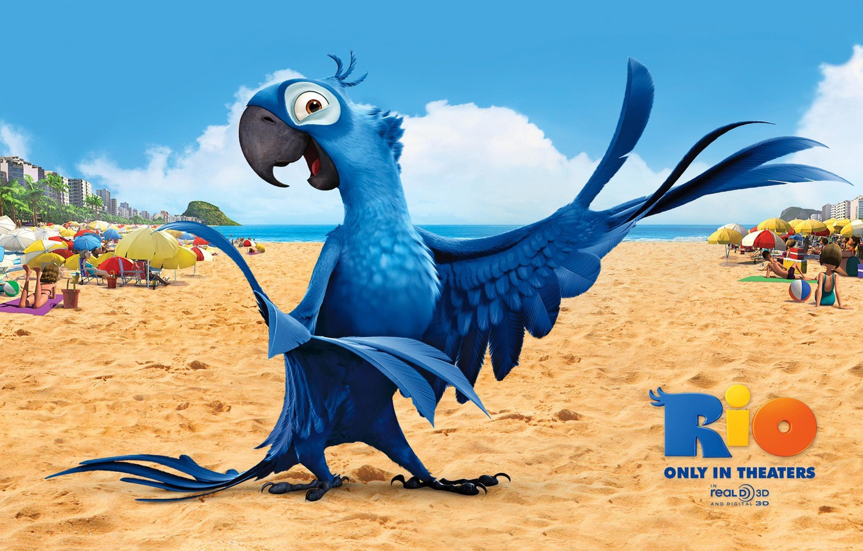Photo wallpaper sand, beach, bird, cartoon, wings, feathers, beak, parrot, bright, colorful, Rio, darling, Rio de Janeiro, …