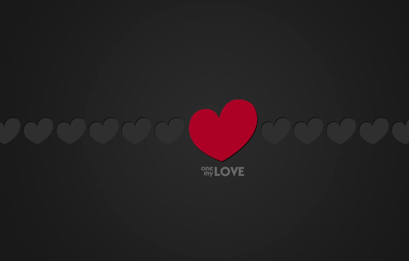 Photo wallpaper Love, Minimalism, Black, Love, Heart, Hearts, Background, The inscription, One, Words, Text, My, One