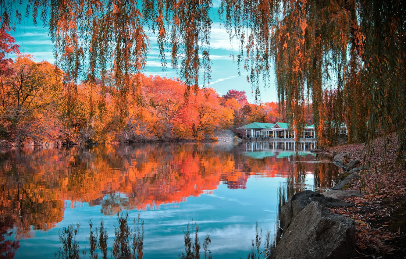 Photo wallpaper autumn, the sky, clouds, trees, lake, reflection, stones, foliage, house, New York, New York, Central …