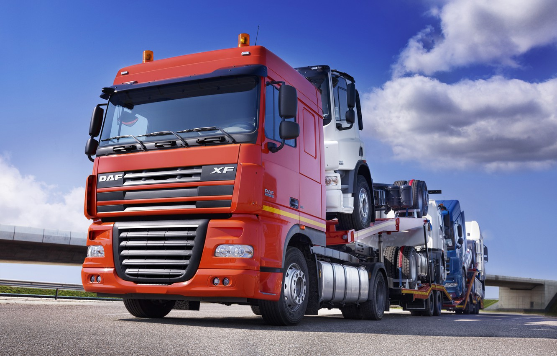 Photo wallpaper Wallpaper, Trucks, Wallpapers, Truck, Tractor, DAF, XF105, DAF, Train, Car Transporter, ИксЭ105