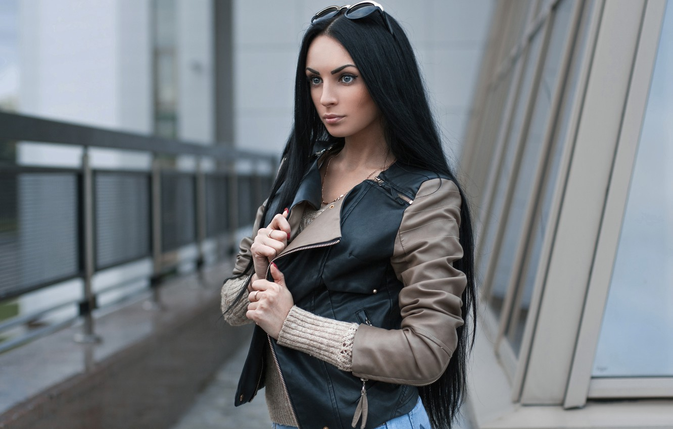 Photo wallpaper hair, the building, Girl, jacket, railings, long, leather