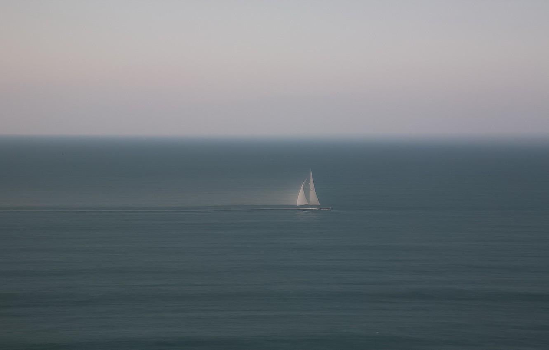 Photo wallpaper sea, boat, minimalism, sail, haze