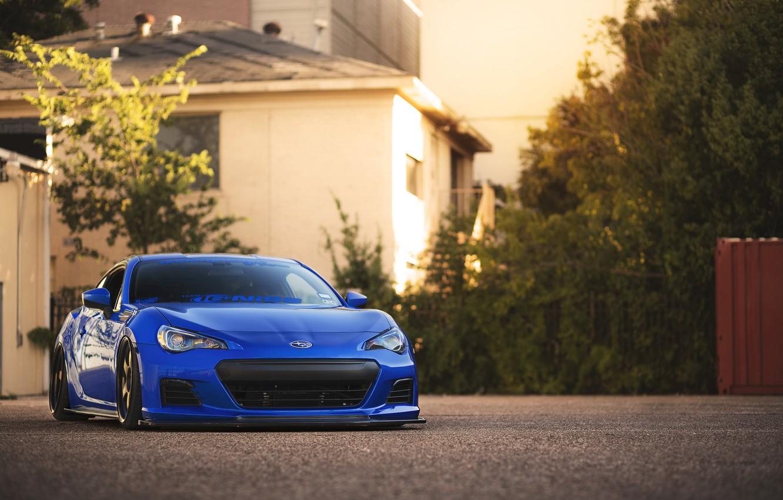 Photo wallpaper coupe, Subaru, sports car, blue, front, Subaru, brz, quick